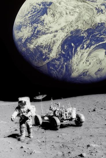 Astronaut on Moon with Earth-Science Photo Library-Photographic Print