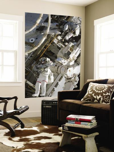 Astronauts Participating in Extravehicular Activity During STS-124--Wall Mural