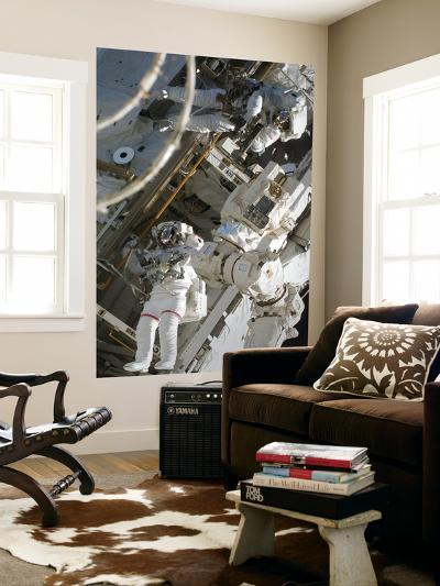 Astronauts Participating in Extravehicular Activity During STS-124--Giant Art Print