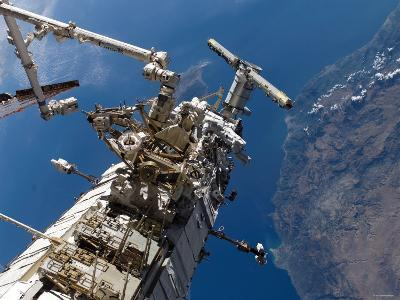 Astronauts Representing the Canadian Space Agency, Participate in a Spacewalk-Stocktrek Images-Photographic Print