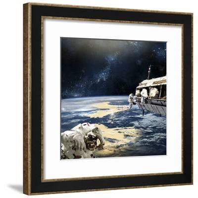 Astronauts Working on Space Station While Orbiting an Earth-Like Planet-Stocktrek Images-Framed Photographic Print