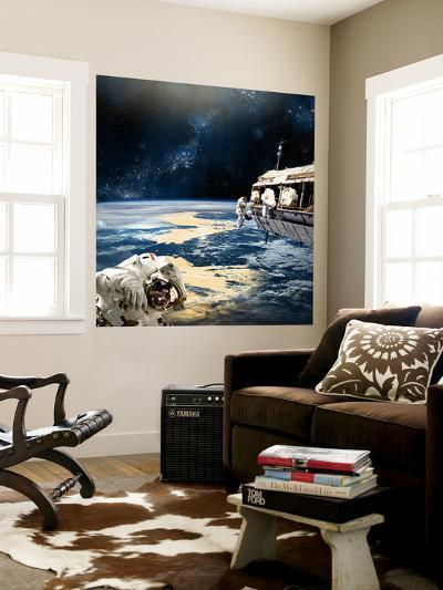 Astronauts Working on Space Station While Orbiting an Earth-Like Planet-Stocktrek Images-Wall Mural