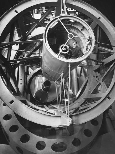 Astronomer Edwin Hubble Pictured Inside the Workings of the Huge 200 In. Mt. Palomar Telescope-J^ R^ Eyerman-Photographic Print