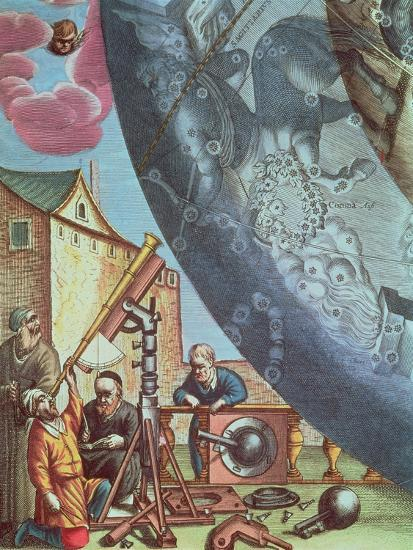 Astronomers Looking Through a Telescope, Detail from a Map of the Constellations-Andreas Cellarius-Giclee Print