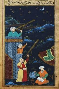 Astronomers While Studying the Moon and the Stars, Ottoman Miniature