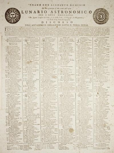 Astronomical Almanac for the Year 1797--Giclee Print