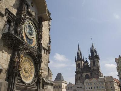 Astronomical Clock, and Church of Our Lady before Tyn, Old Town Square, Prague, Czech Republic-Martin Child-Photographic Print