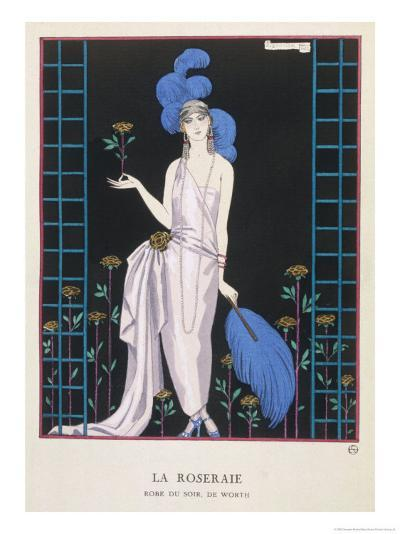 Asymmetrical Evening Gown by Worth with a Low Diagonal Waistline and a Long Flowing Train-Georges Barbier-Giclee Print