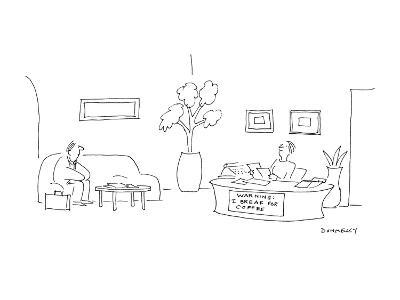 At a desk where the secretary is sitting there is a sign that reads 'WARNI? - Cartoon-Liza Donnelly-Premium Giclee Print