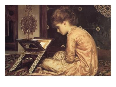 At a Reading Desk-Frederick Leighton-Art Print