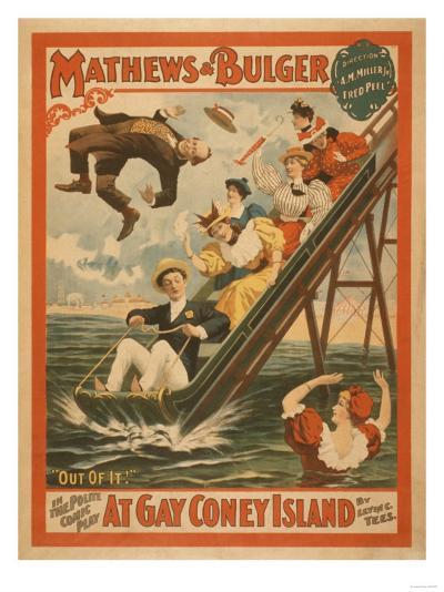 """""""At Gay Coney Island"""" Musical Comedy Poster No.2-Lantern Press-Art Print"""