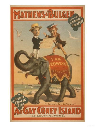 """""""At Gay Coney Island"""" Musical Comedy Poster No.3-Lantern Press-Art Print"""