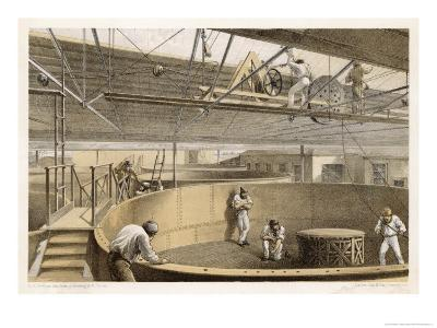 At Greenwich the Cable is Carefully Coiled in Tanks Before Loading Aboard the Great Eastern-Robert Dudley-Giclee Print