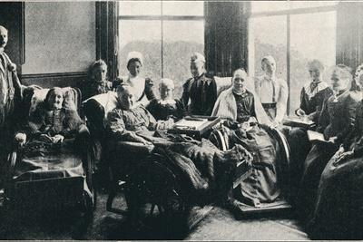 'At Home, a Favourite Window Recess in the Women's Corridor', 1901-Unknown-Framed Photographic Print