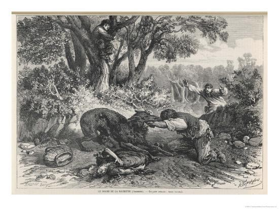 At La Rochette Three Country People Bitten by a Rabid Wolf Die in Agony-A. Ferdinandus-Giclee Print