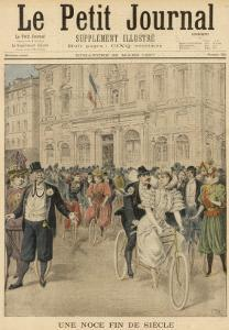 At Marseille, France, M. Pecolle Weds Mlle Latourre on a Bicycle Built for Two