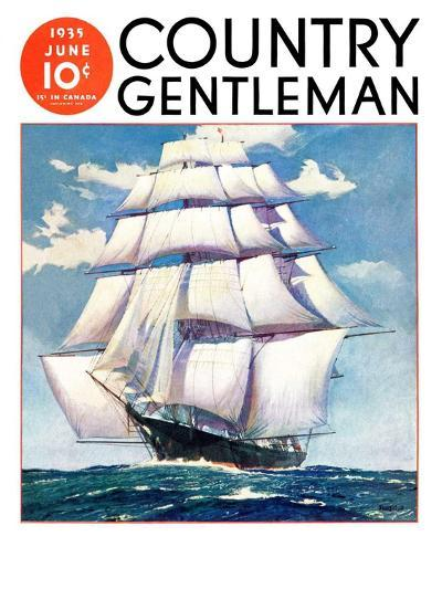 """At Sea,"" Country Gentleman Cover, June 1, 1935--Giclee Print"