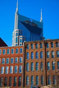 AT&T Building and historic red brick buildings of downtown Nashville, Tennessee