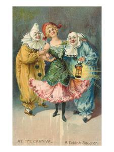 At the Carnival, A Ticklish Situation, Lady with Two Clowns