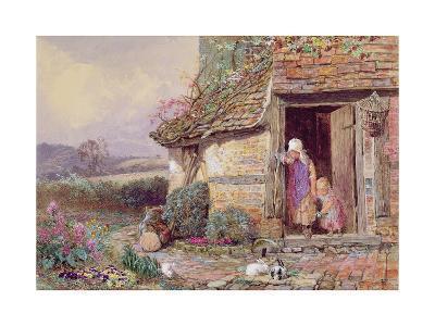 At the Cottage Door-Myles Birket Foster-Giclee Print
