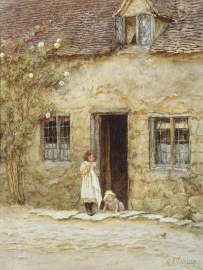 At the Cottage Door-Helen Allingham-Giclee Print