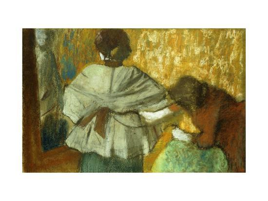 At the Couturiere, the Fitting-Edgar Degas-Giclee Print