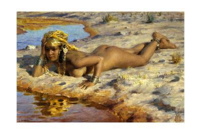 At the Edge of the Wadi (Stream)-Etienne Dinet-Giclee Print