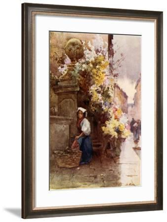 At the Foot of the Spanish Steps, Piazza Di Spagna, on a Wet Day-Alberto Pisa-Framed Giclee Print