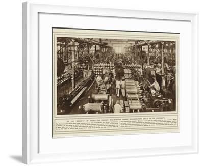 At the Krupp's of France, the Creusot War-Munition Works, High-Explosive Shells in the Workshops--Framed Photographic Print