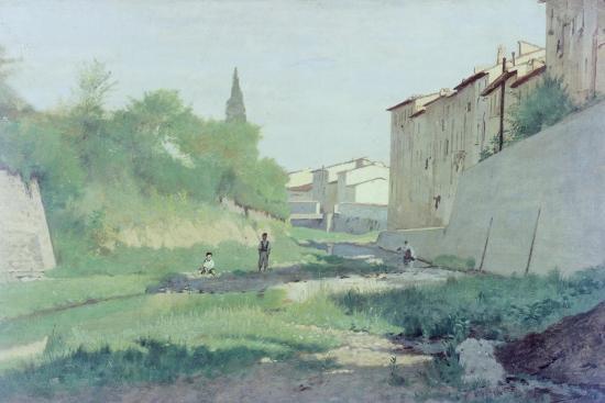 At the Mugnone River-Odoardo Borrani-Giclee Print