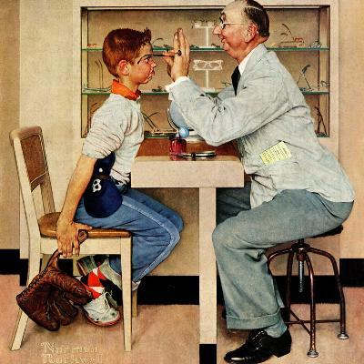 """""""At the Optometrist"""" or """"Eye Doctor"""", May 19,1956-Norman Rockwell-Giclee Print"""
