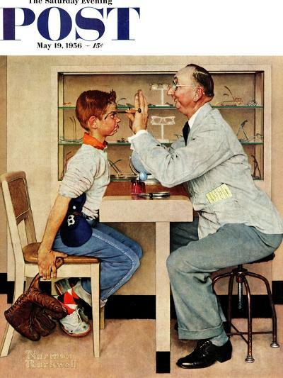 """""""At the Optometrist"""" or """"Eye Doctor"""" Saturday Evening Post Cover, May 19,1956-Norman Rockwell-Giclee Print"""