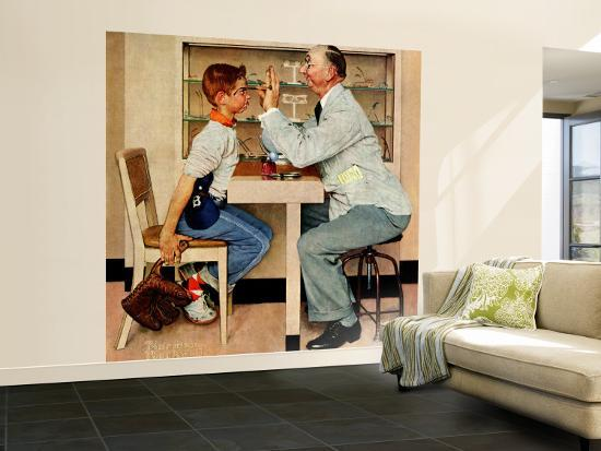 """""""At the Optometrist"""" or """"Eye Doctor"""" Saturday Evening Post Cover, May 19,1956-Norman Rockwell-Wall Mural – Large"""