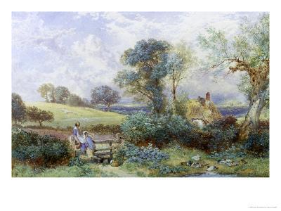 At the Pond-Myles Birket Foster-Giclee Print