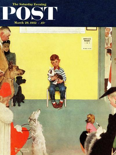 """""""At the Vets"""" Saturday Evening Post Cover, March 29,1952-Norman Rockwell-Giclee Print"""