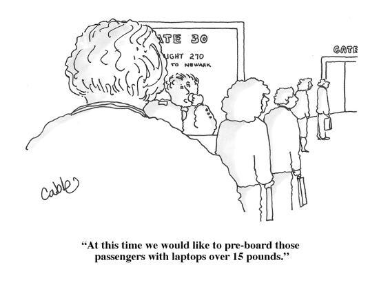 """At this time we would like to pre-board those passengers with laptops ove?"" - Cartoon-Carole Cable-Premium Giclee Print"
