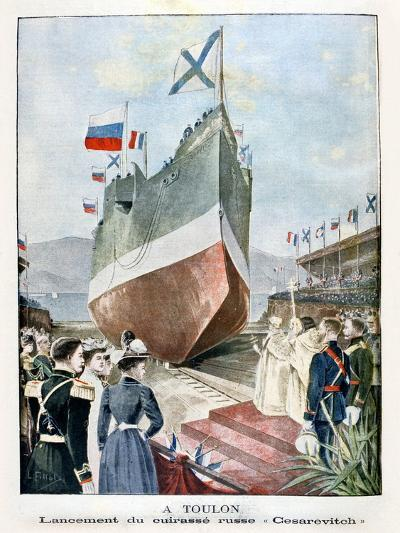 At Toulon, Launching the Russian Battleship Cesarevitch, 1901--Giclee Print