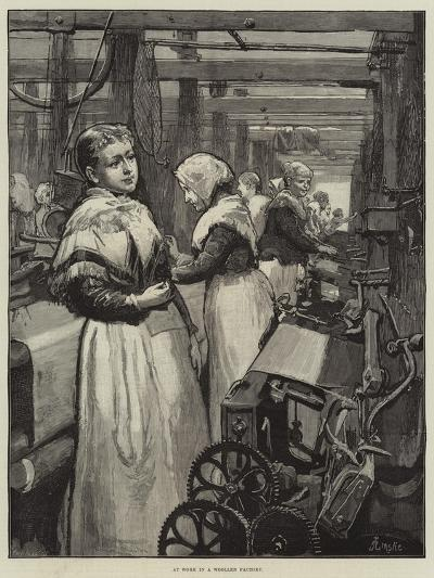 At Work in a Woollen Factory-Alfred Edward Emslie-Giclee Print