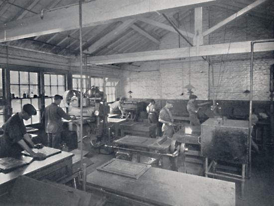 'At Work in the Foundry. Making Wax Moulds of the Pages', 1917-Unknown-Giclee Print