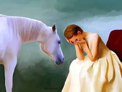 Sad Girl And Horse