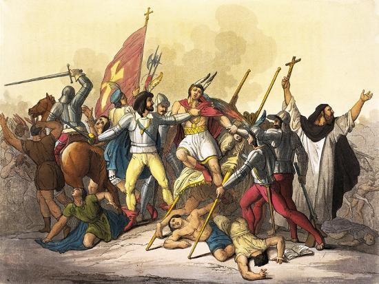 Atahualpa King of Incas Captured by Pizarro Taken from South America by Giulio Ferrario, 1827--Giclee Print