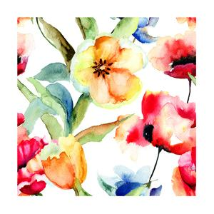 Yellow Tulips And Poppy Flowers by Ateli