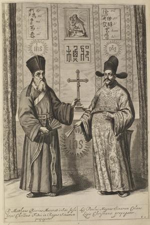 Matteo Ricci and Xu Guangqi (From Athanasius Kircher's China Illustrat), 1667