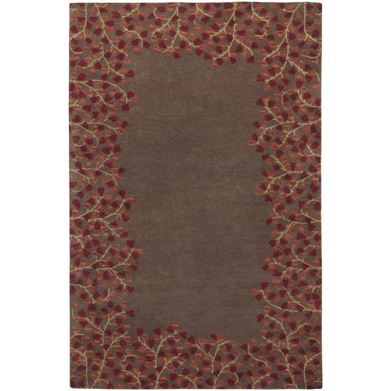 Athena Branch Border Area Rug Chocolate Burgundy 5 X 8 Home Accessories By Art