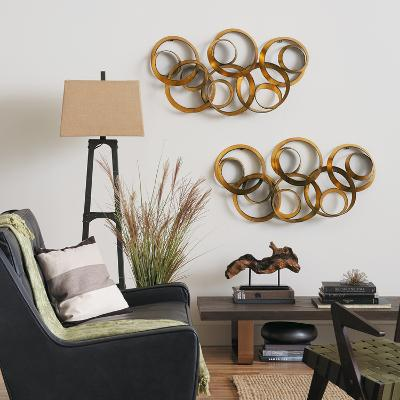 Athena Gold Leaf Metal Wall Art--Home Accessories