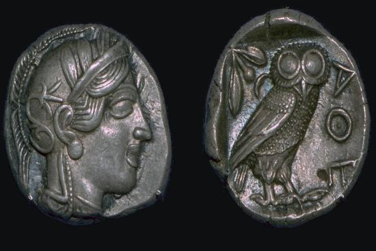 Athenian 'owl' tetradrachm, late 5th century BC. Artist: Unknown-Unknown-Giclee Print
