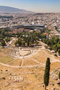 Athens, Attica, Greece. Theatre of Dionysos, seen from the Acropolis. The theatre is considered...