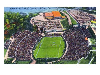 Athens, Georgia - Aerial View of Sanford (Bull Dog) Stadium-Lantern Press-Art Print