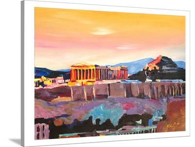 Athens Greece Akropolis At Sunset Neu-M Bleichner-Stretched Canvas Print