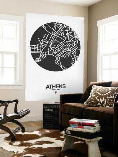 Athens Street Map Black on White-NaxArt-Wall Mural